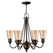 Mayflower 6 Light Chandelier in Olde Bronze with Etched Amber Glass - HINKLEY HK/MAYFLOWER6